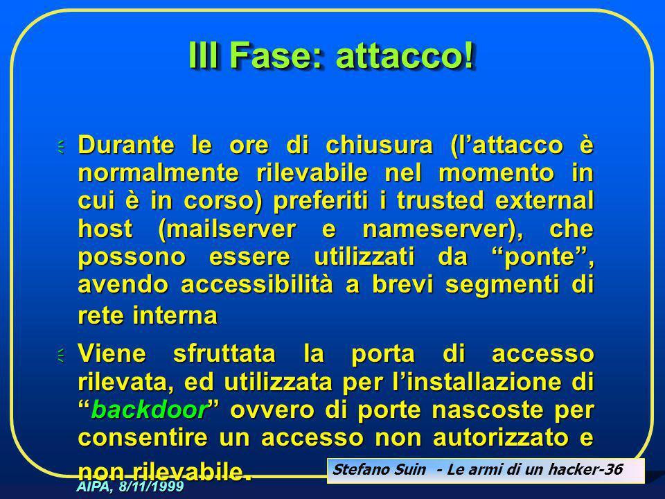 Stefano Suin - Le armi di un hacker-36 AIPA, 8/11/1999 III Fase: attacco!  Durante le ore di chiusura (l'attacco è normalmente rilevabile nel momento