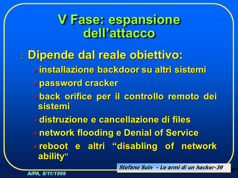 Stefano Suin - Le armi di un hacker-39 AIPA, 8/11/1999 V Fase: espansione dell'attacco  Dipende dal reale obiettivo:  installazione backdoor su altri sistemi  password cracker  back orifice per il controllo remoto dei sistemi  distruzione e cancellazione di files  network flooding e Denial of Service  reboot e altri disabling of network ability