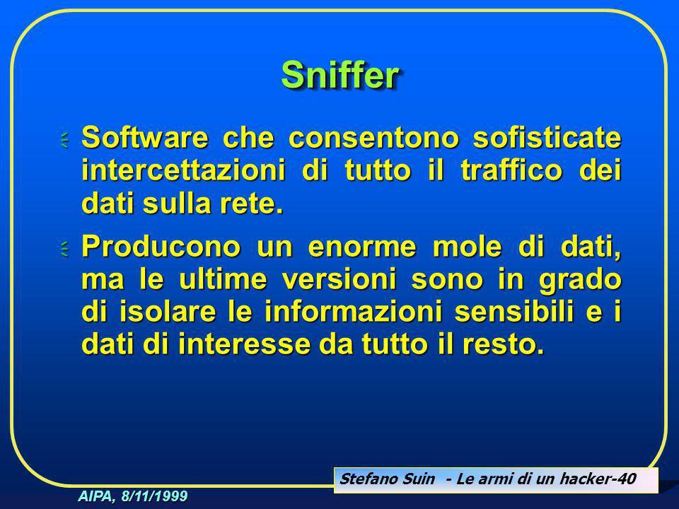 Stefano Suin - Le armi di un hacker-40 AIPA, 8/11/1999 SnifferSniffer  Software che consentono sofisticate intercettazioni di tutto il traffico dei d