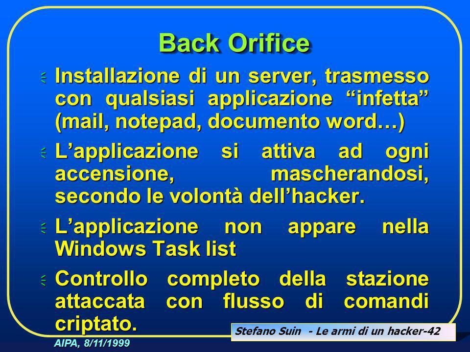 """Stefano Suin - Le armi di un hacker-42 AIPA, 8/11/1999 Back Orifice  Installazione di un server, trasmesso con qualsiasi applicazione """"infetta"""" (mail"""