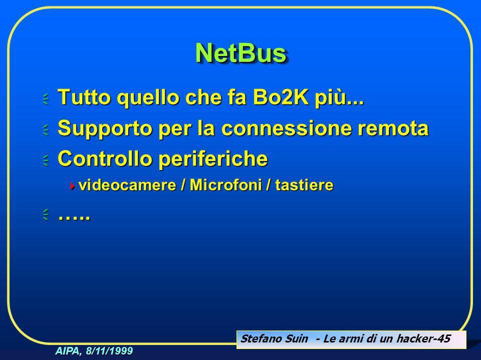 Stefano Suin - Le armi di un hacker-45 AIPA, 8/11/1999 NetBusNetBus  Tutto quello che fa Bo2K più...  Supporto per la connessione remota  Controllo