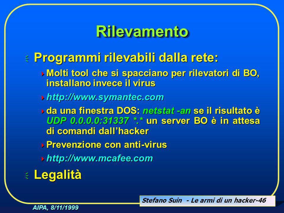 Stefano Suin - Le armi di un hacker-46 AIPA, 8/11/1999 RilevamentoRilevamento  Programmi rilevabili dalla rete:  Molti tool che si spacciano per ril