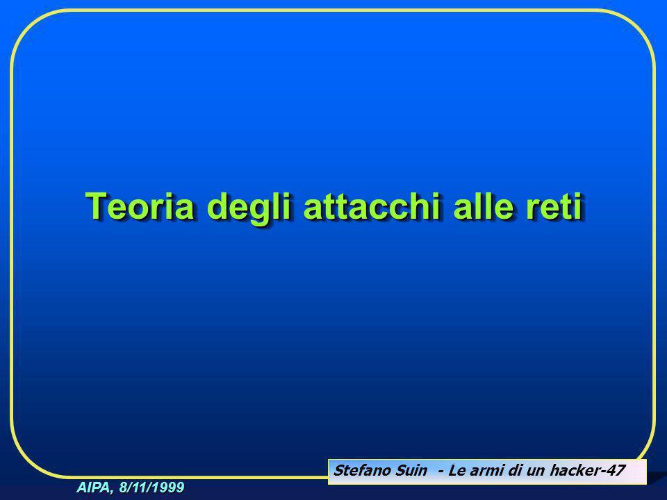 Stefano Suin - Le armi di un hacker-47 AIPA, 8/11/1999 Teoria degli attacchi alle reti