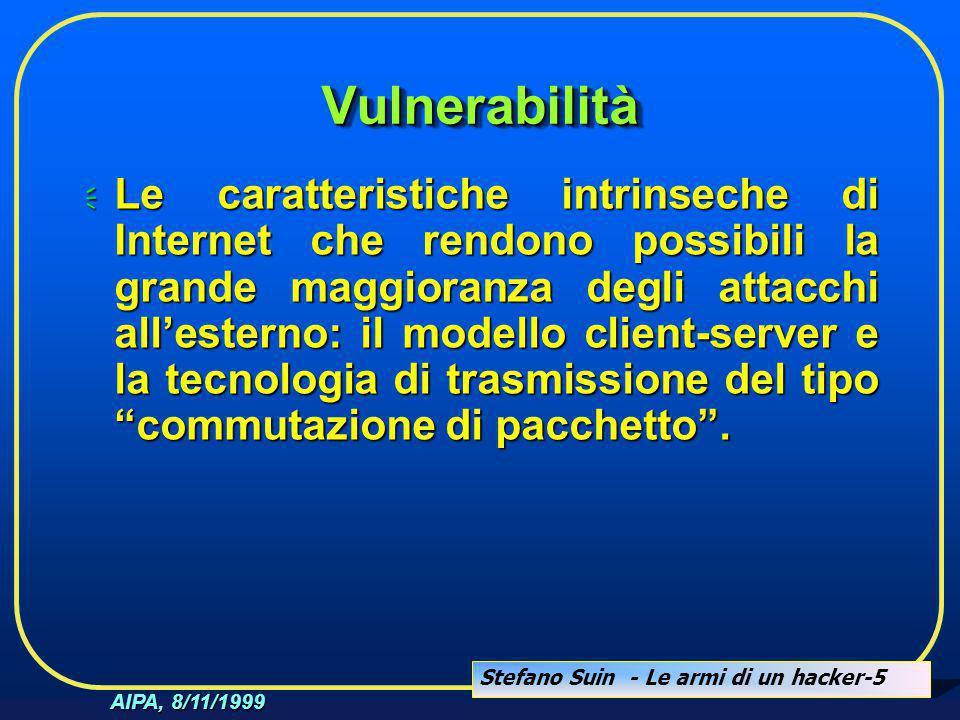 Stefano Suin - Le armi di un hacker-5 AIPA, 8/11/1999 VulnerabilitàVulnerabilità  Le caratteristiche intrinseche di Internet che rendono possibili la