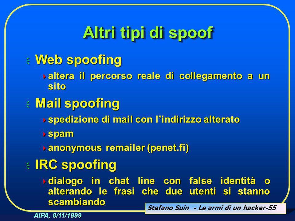 Stefano Suin - Le armi di un hacker-55 AIPA, 8/11/1999 Altri tipi di spoof  Web spoofing  altera il percorso reale di collegamento a un sito  Mail