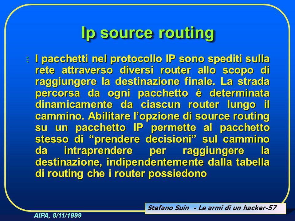 Stefano Suin - Le armi di un hacker-57 AIPA, 8/11/1999 Ip source routing  I pacchetti nel protocollo IP sono spediti sulla rete attraverso diversi ro