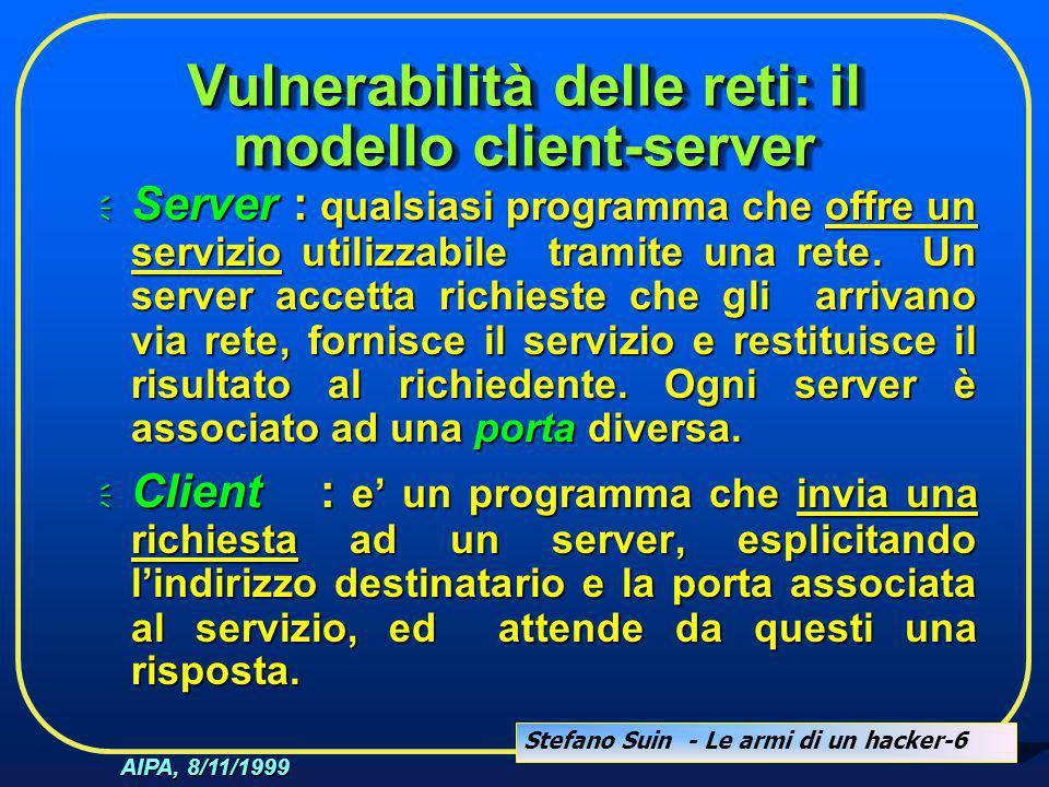 Stefano Suin - Le armi di un hacker-6 AIPA, 8/11/1999 Vulnerabilità delle reti: il modello client-server  Server : qualsiasi programma che offre un s