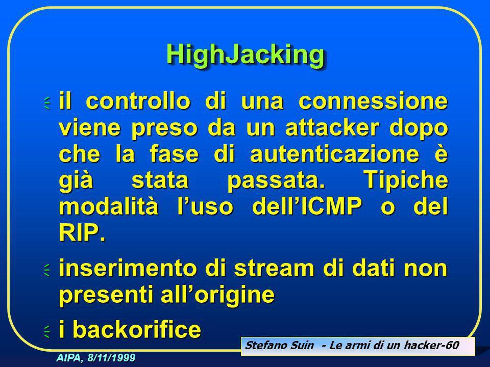 Stefano Suin - Le armi di un hacker-60 AIPA, 8/11/1999 HighJackingHighJacking  il controllo di una connessione viene preso da un attacker dopo che la