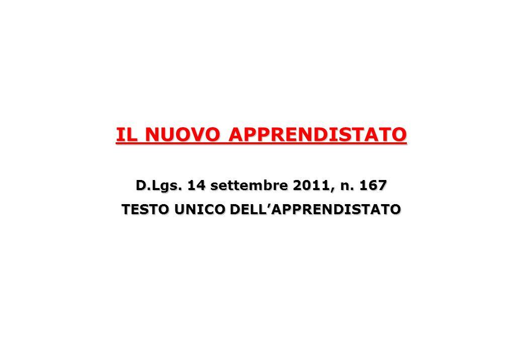 IL NUOVO APPRENDISTATO D.Lgs. 14 settembre 2011, n. 167 TESTO UNICO DELL'APPRENDISTATO