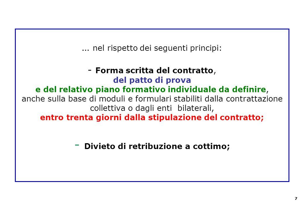 … nel rispetto dei seguenti principi: - Forma scritta del contratto, del patto di prova e del relativo piano formativo individuale da definire, anche