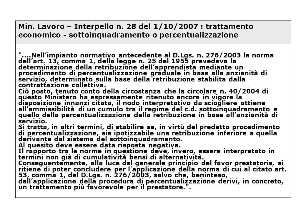 Min. Lavoro – Interpello n. 28 del 1/10/2007 : trattamento economico - sottoinquadramento o percentualizzazione