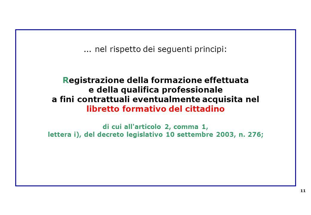 … nel rispetto dei seguenti principi: Registrazione della formazione effettuata e della qualifica professionale a fini contrattuali eventualmente acqu