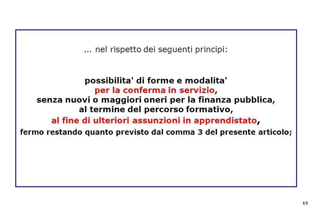 … nel rispetto dei seguenti principi: possibilita' di forme e modalita' per la conferma in servizio, senza nuovi o maggiori oneri per la finanza pubbl