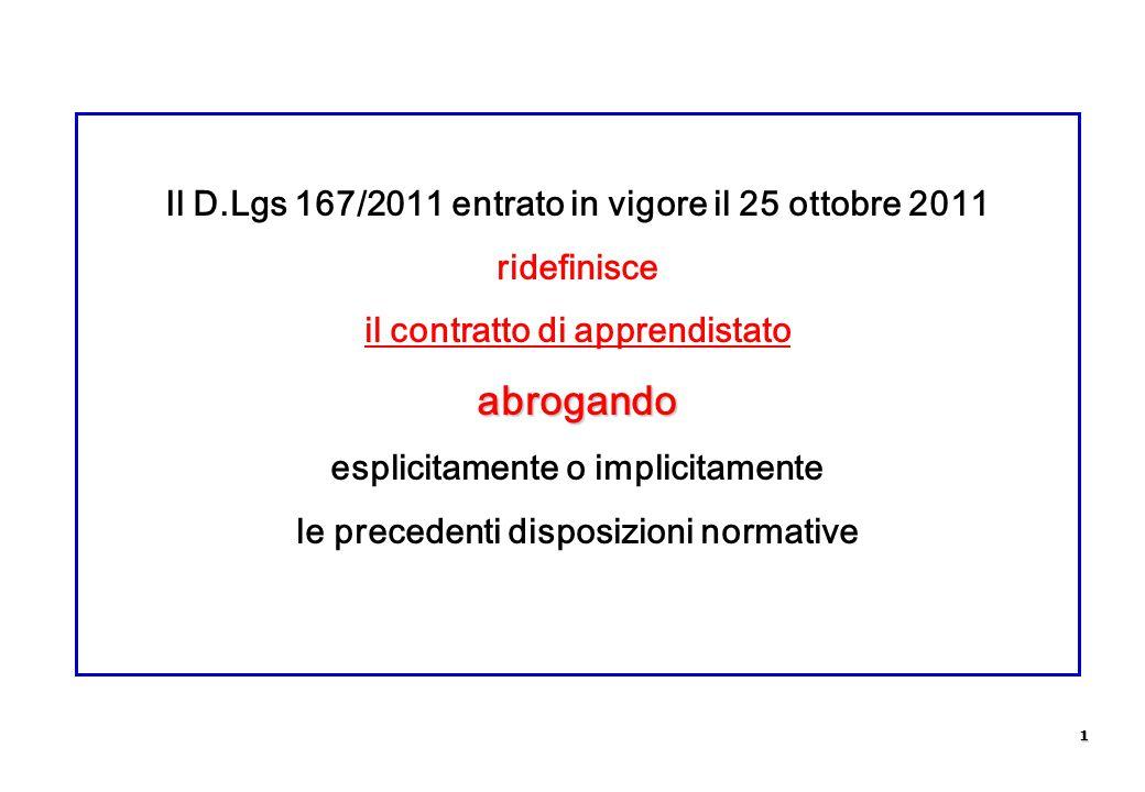 Il D.Lgs 167/2011 entrato in vigore il 25 ottobre 2011 ridefinisce il contratto di apprendistatoabrogando esplicitamente o implicitamente le precedent