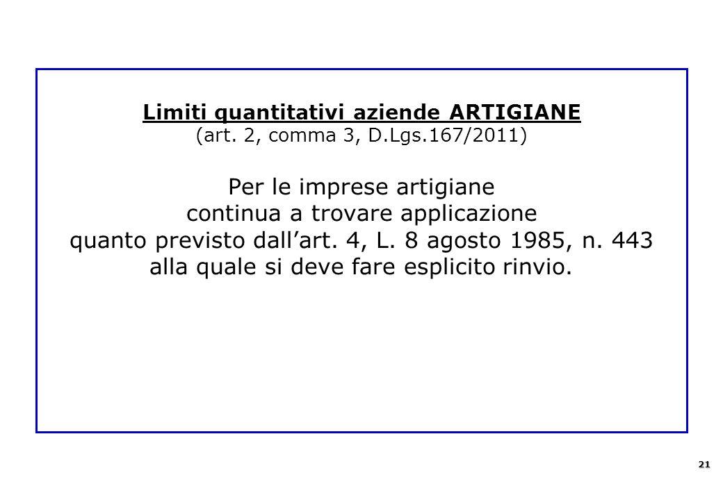 Limiti quantitativi aziende ARTIGIANE (art. 2, comma 3, D.Lgs.167/2011) Per le imprese artigiane continua a trovare applicazione quanto previsto dall'