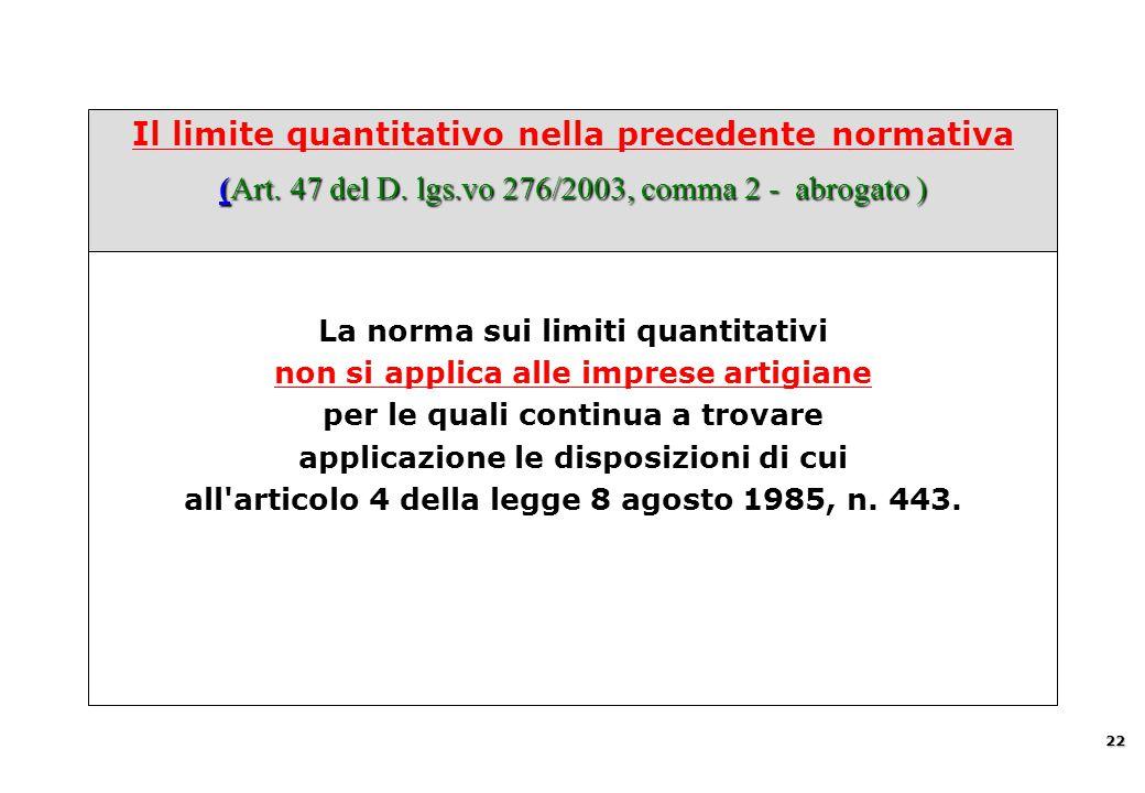 (Art. 47 del D. lgs.vo 276/2003, comma 2 - abrogato ) Il limite quantitativo nella precedente normativa (Art. 47 del D. lgs.vo 276/2003, comma 2 - abr