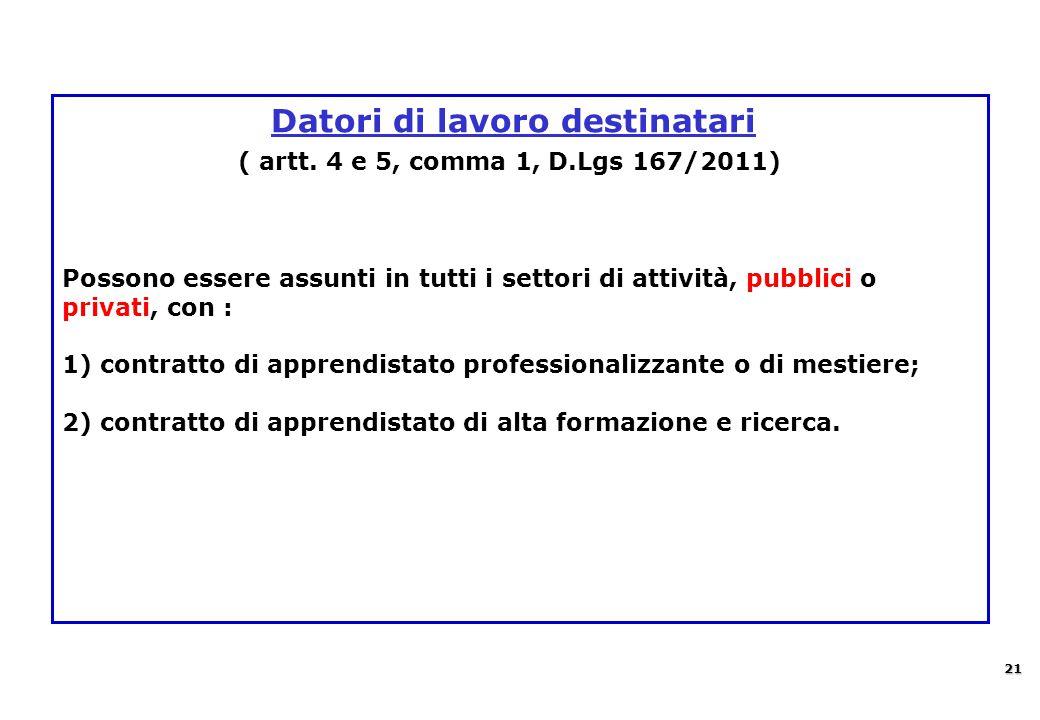 Datori di lavoro destinatari ( artt. 4 e 5, comma 1, D.Lgs 167/2011) Possono essere assunti in tutti i settori di attività, pubblici o privati, con :