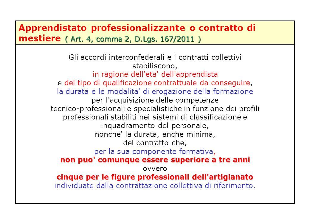 ( Art. 4, comma 2, D.Lgs. 167/2011 ) Apprendistato professionalizzante o contratto di mestiere ( Art. 4, comma 2, D.Lgs. 167/2011 ) Gli accordi interc
