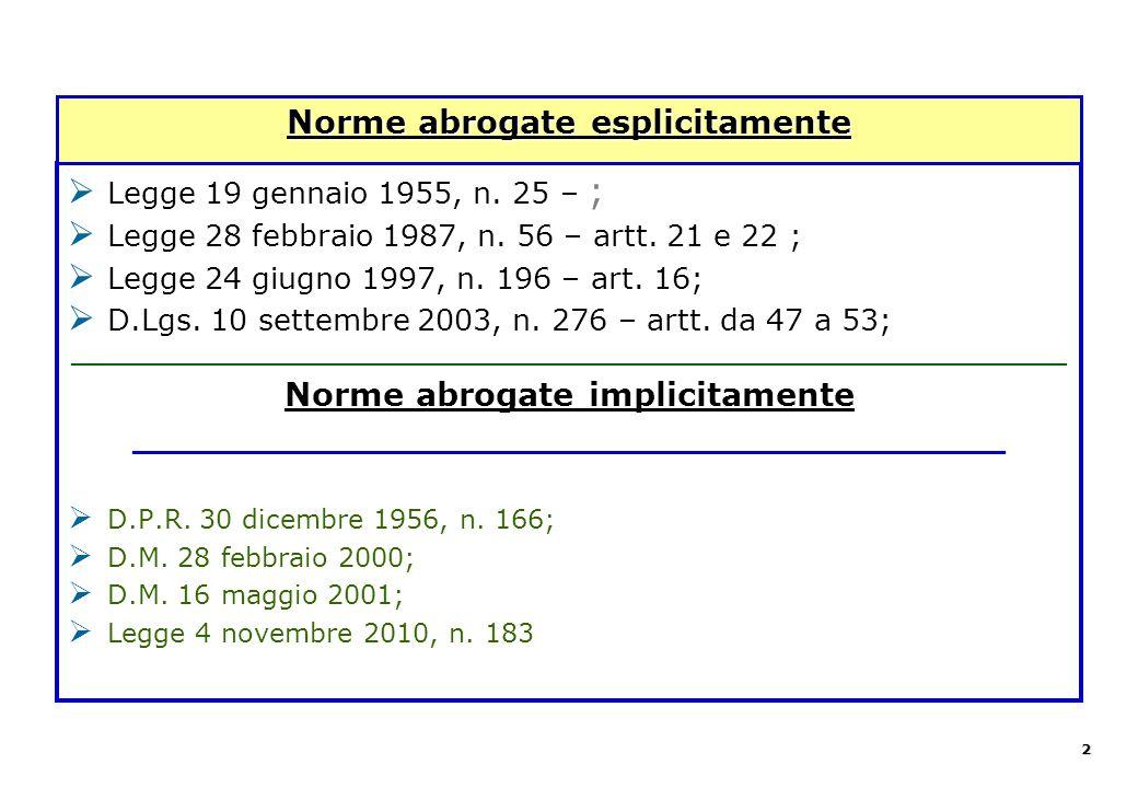  Legge 19 gennaio 1955, n. 25 – ;  Legge 28 febbraio 1987, n. 56 – artt. 21 e 22 ;  Legge 24 giugno 1997, n. 196 – art. 16;  D.Lgs. 10 settembre 2