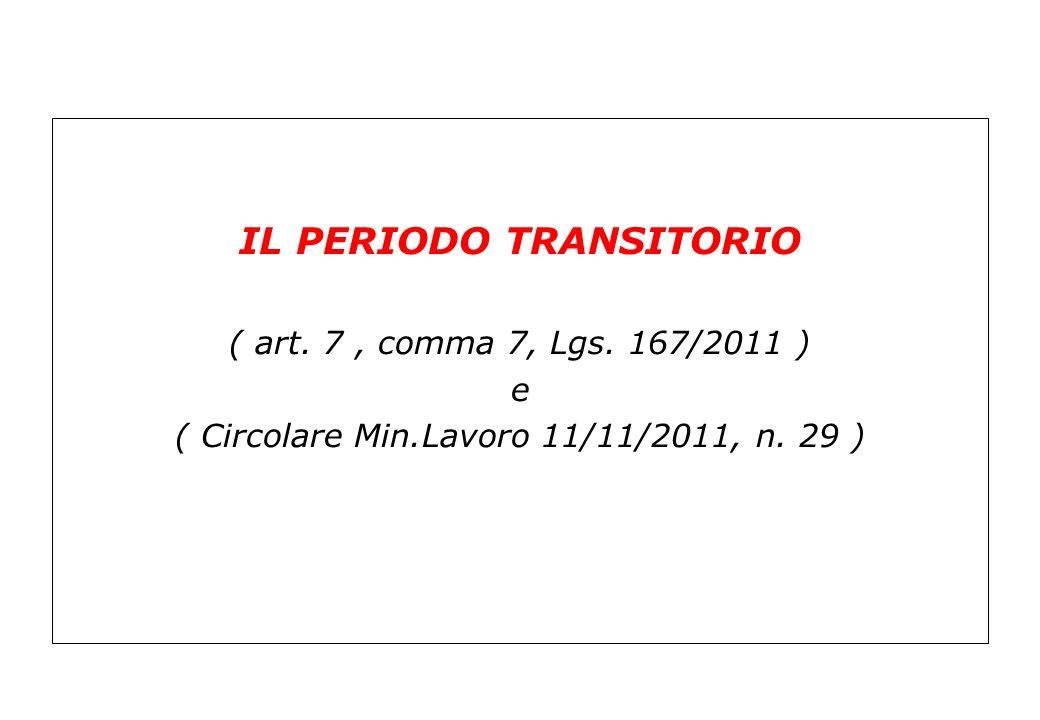 IL PERIODO TRANSITORIO ( art. 7, comma 7, Lgs. 167/2011 ) e ( Circolare Min.Lavoro 11/11/2011, n. 29 )