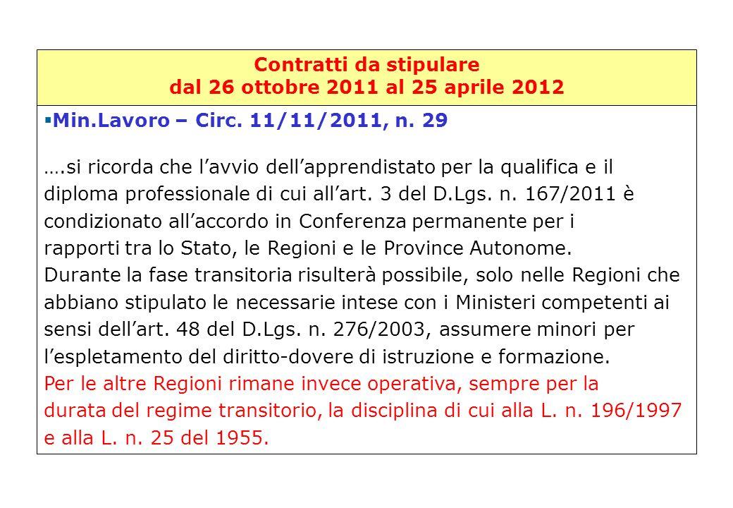 Contratti da stipulare dal 26 ottobre 2011 al 25 aprile 2012 Min.Lavoro – Circ. 11/11/2011, n. 29   Min.Lavoro – Circ. 11/11/2011, n. 29 ….si ricord