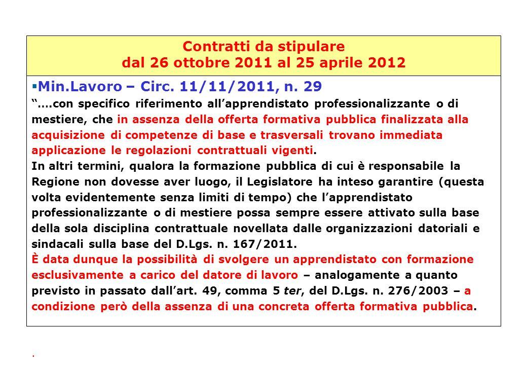 """Contratti da stipulare dal 26 ottobre 2011 al 25 aprile 2012 Min.Lavoro – Circ. 11/11/2011, n. 29   Min.Lavoro – Circ. 11/11/2011, n. 29 """"….con spec"""