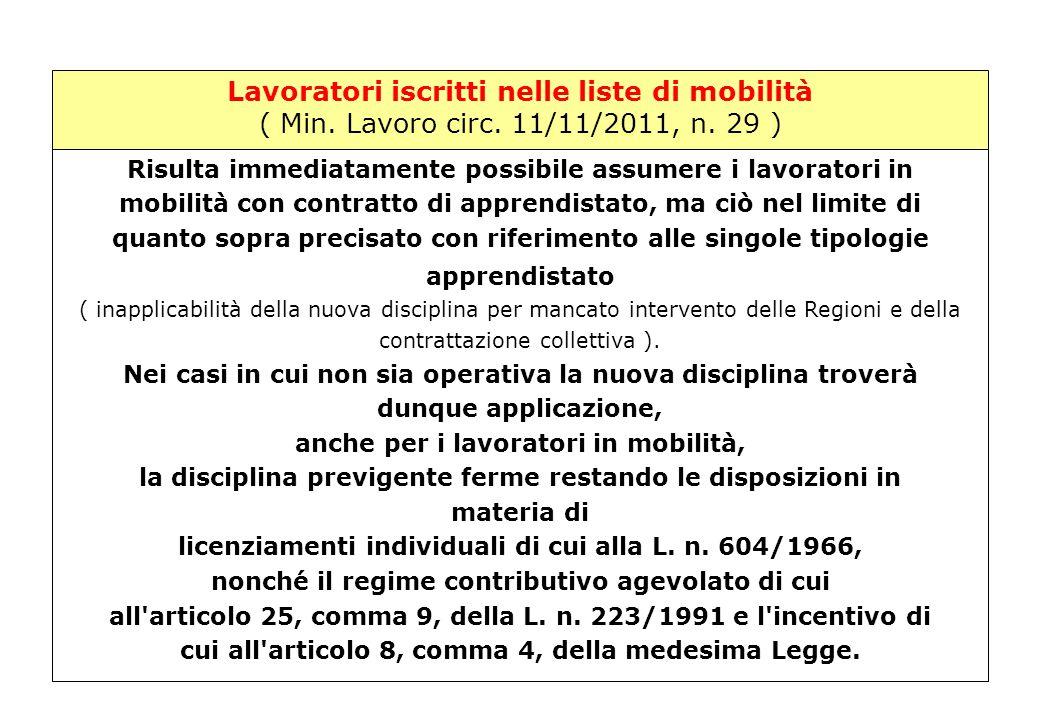 Lavoratori iscritti nelle liste di mobilità ( Min. Lavoro circ. 11/11/2011, n. 29 ) Min.Lavoro – Circ. 11/11/2011, n. 29 Risulta immediatamente possib
