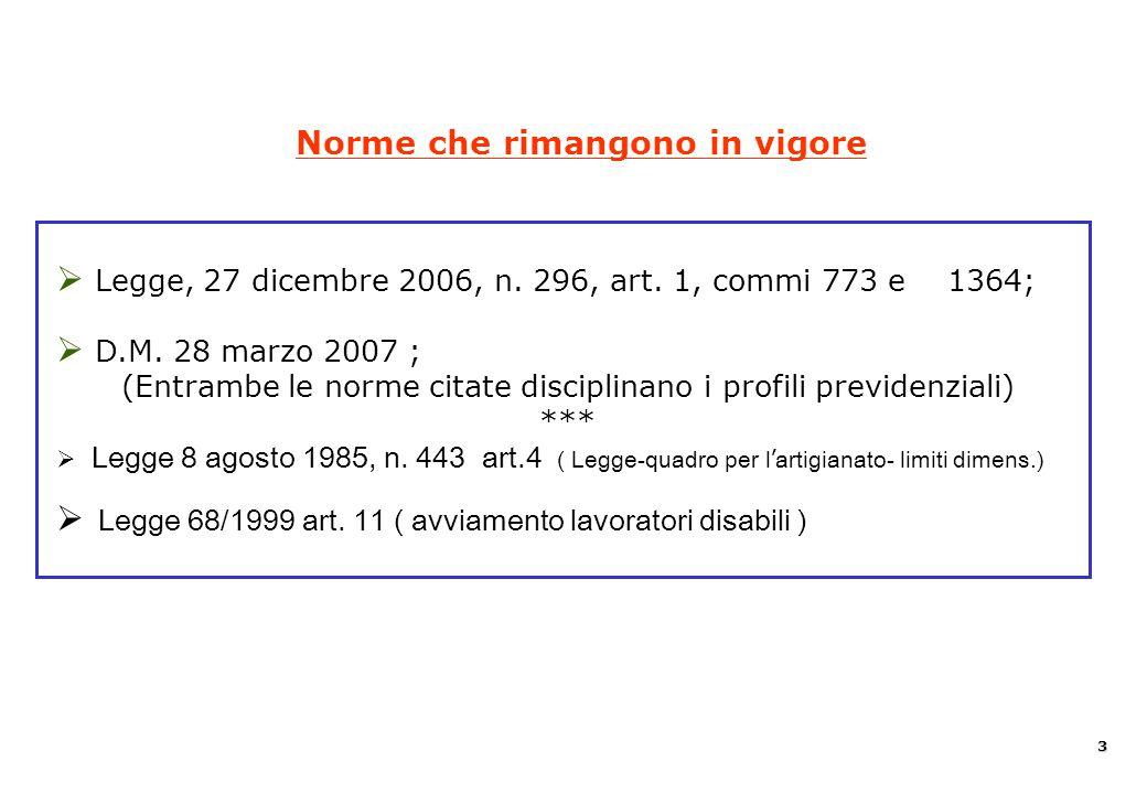   Legge, 27 dicembre 2006, n. 296, art. 1, commi 773 e 1364;   D.M. 28 marzo 2007 ; (Entrambe le norme citate disciplinano i profili previdenziali