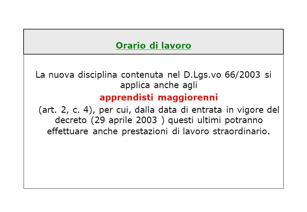 Orario di lavoro La nuova disciplina contenuta nel D.Lgs.vo 66/2003 si applica anche agli apprendisti maggiorenni (art. 2, c. 4), per cui, dalla data