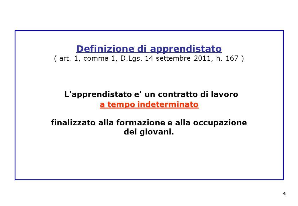 a tempo indeterminato Definizione di apprendistato ( art. 1, comma 1, D.Lgs. 14 settembre 2011, n. 167 ) L'apprendistato e' un contratto di lavoro a t