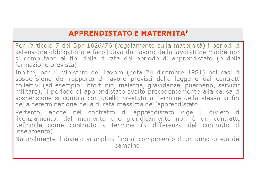 ' APPRENDISTATO E MATERNITA' Per l'articolo 7 del Dpr 1026/76 (regolamento sulla maternità) i periodi di astensione obbligatoria e facoltativa dal lav