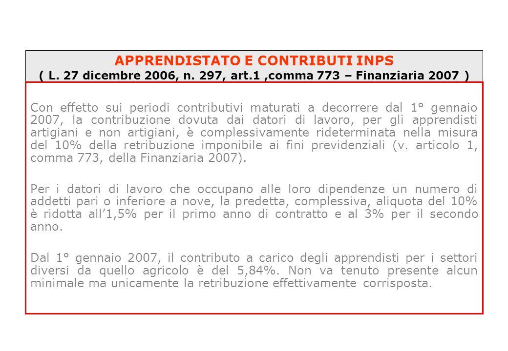 APPRENDISTATO E CONTRIBUTI INPS ( L. 27 dicembre 2006, n. 297, art.1,comma 773 – Finanziaria 2007 ) Con effetto sui periodi contributivi maturati a de
