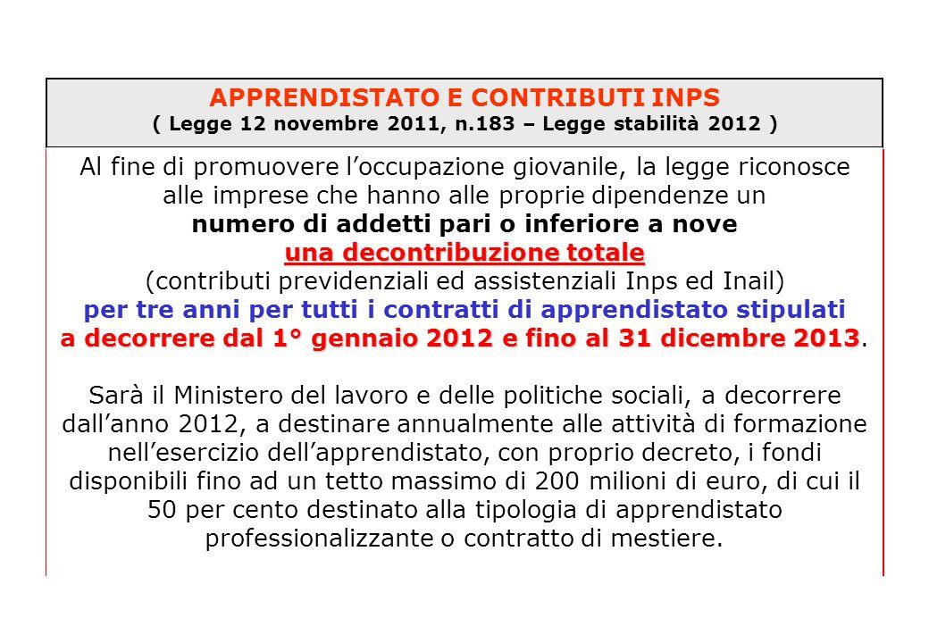 APPRENDISTATO E CONTRIBUTI INPS ( Legge 12 novembre 2011, n.183 – Legge stabilità 2012 ) Al fine di promuovere l'occupazione giovanile, la legge ricon
