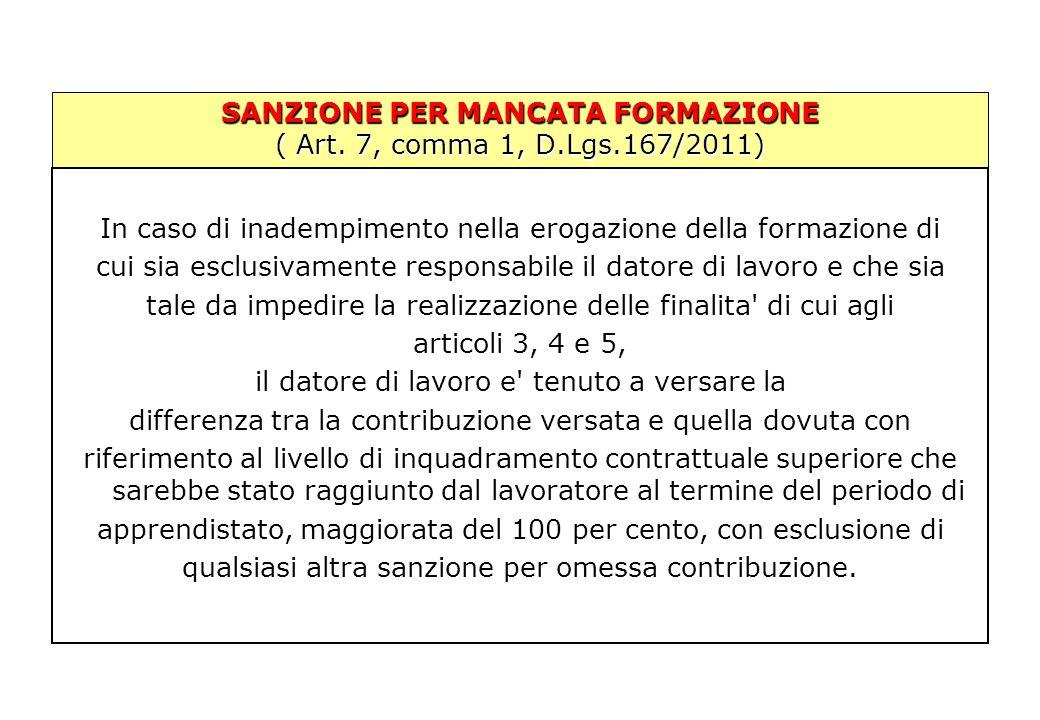 SANZIONE PER MANCATA FORMAZIONE ( Art. 7, comma 1, D.Lgs.167/2011) In caso di inadempimento nella erogazione della formazione di cui sia esclusivament
