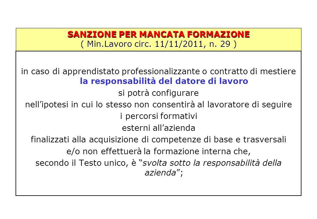 SANZIONE PER MANCATA FORMAZIONE ( Min.Lavoro circ. 11/11/2011, n. 29 ) in caso di apprendistato professionalizzante o contratto di mestiere la respons