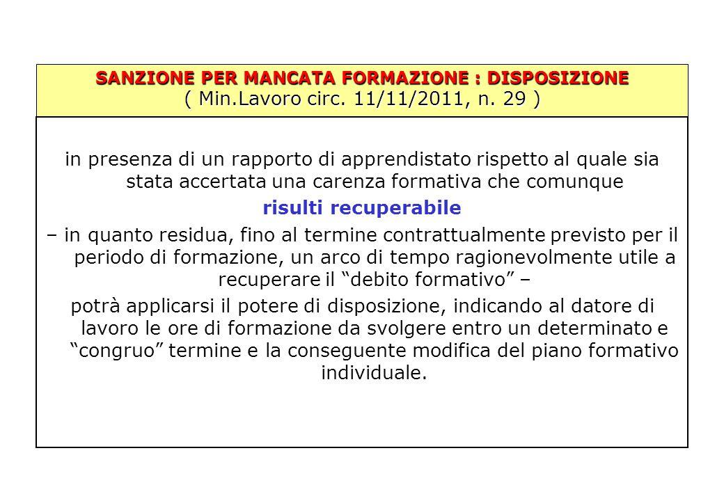 SANZIONE PER MANCATA FORMAZIONE : DISPOSIZIONE ( Min.Lavoro circ. 11/11/2011, n. 29 ) in presenza di un rapporto di apprendistato rispetto al quale si