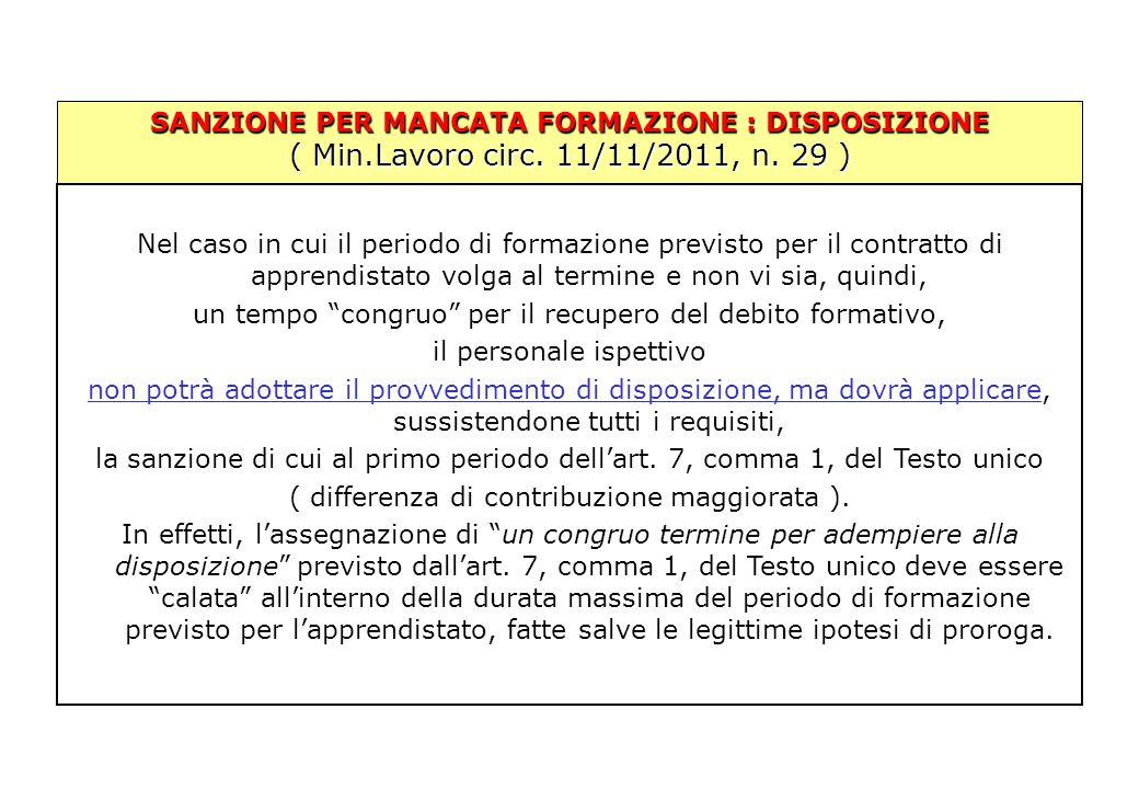 SANZIONE PER MANCATA FORMAZIONE : DISPOSIZIONE ( Min.Lavoro circ. 11/11/2011, n. 29 ) Nel caso in cui il periodo di formazione previsto per il contrat