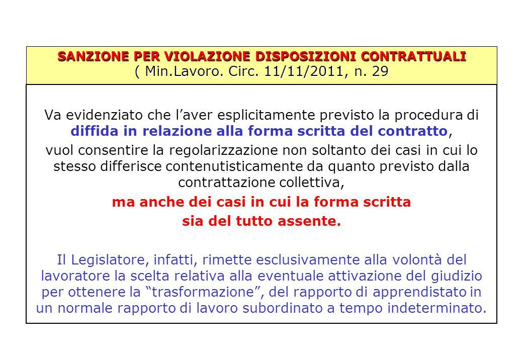SANZIONE PER VIOLAZIONE DISPOSIZIONI CONTRATTUALI ( Min.Lavoro. Circ. 11/11/2011, n. 29 Va evidenziato che l'aver esplicitamente previsto la procedura