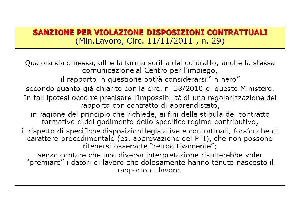 SANZIONE PER VIOLAZIONE DISPOSIZIONI CONTRATTUALI (Min.Lavoro, Circ. 11/11/2011, n. 29) Qualora sia omessa, oltre la forma scritta del contratto, anch
