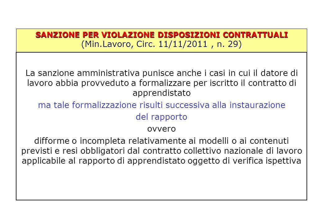 SANZIONE PER VIOLAZIONE DISPOSIZIONI CONTRATTUALI (Min.Lavoro, Circ. 11/11/2011, n. 29) La sanzione amministrativa punisce anche i casi in cui il dato