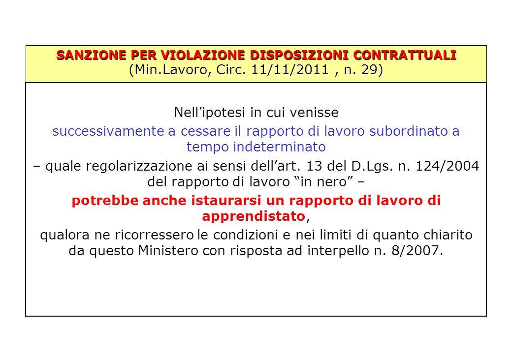 SANZIONE PER VIOLAZIONE DISPOSIZIONI CONTRATTUALI (Min.Lavoro, Circ. 11/11/2011, n. 29) Nell'ipotesi in cui venisse successivamente a cessare il rappo