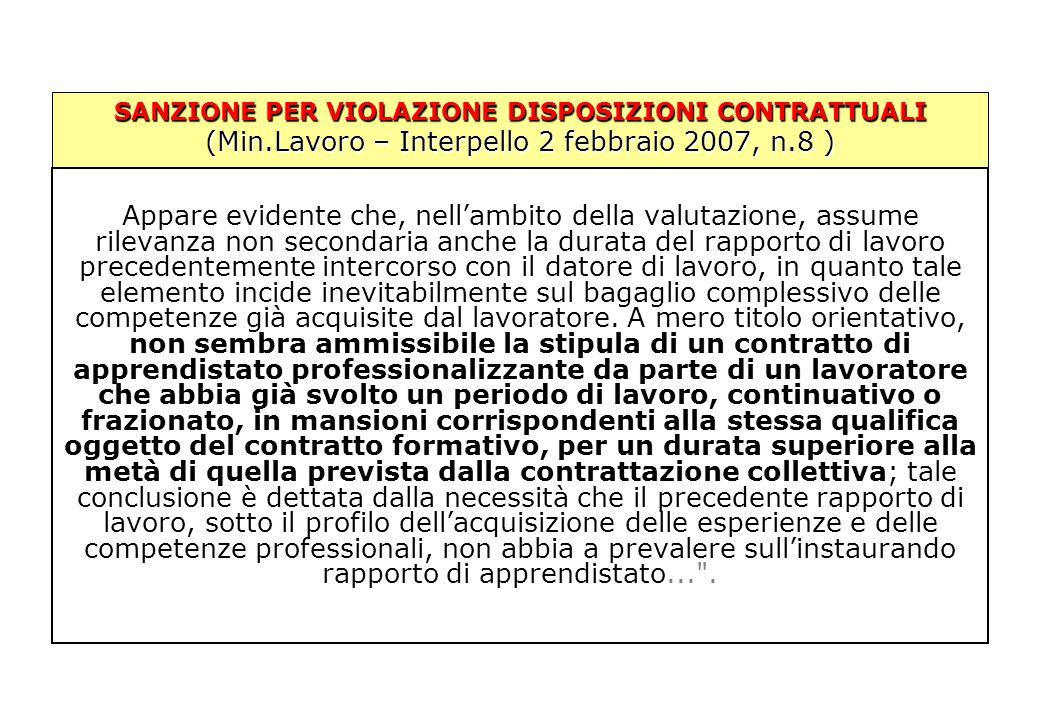 SANZIONE PER VIOLAZIONE DISPOSIZIONI CONTRATTUALI (Min.Lavoro – Interpello 2 febbraio 2007, n.8 ) Appare evidente che, nell'ambito della valutazione,