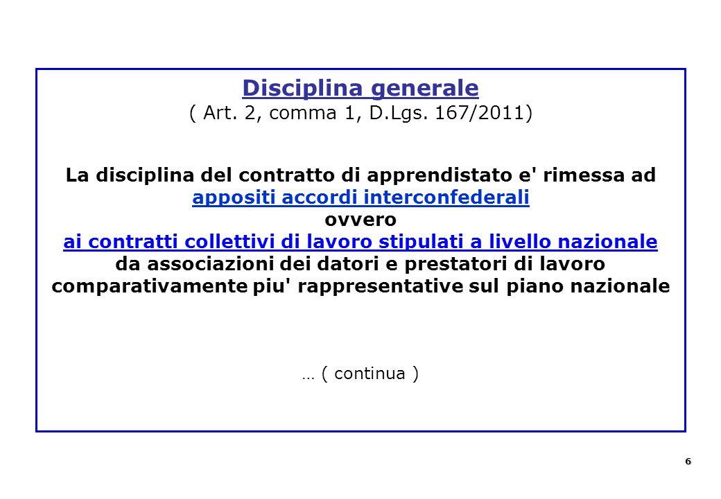 Disciplina generale ( Art. 2, comma 1, D.Lgs. 167/2011) La disciplina del contratto di apprendistato e' rimessa ad appositi accordi interconfederali o