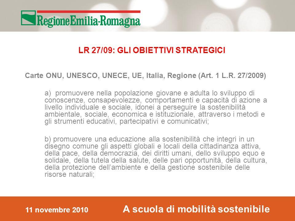 11 novembre 2010 A scuola di mobilità sostenibile Carte ONU, UNESCO, UNECE, UE, Italia, Regione (Art.