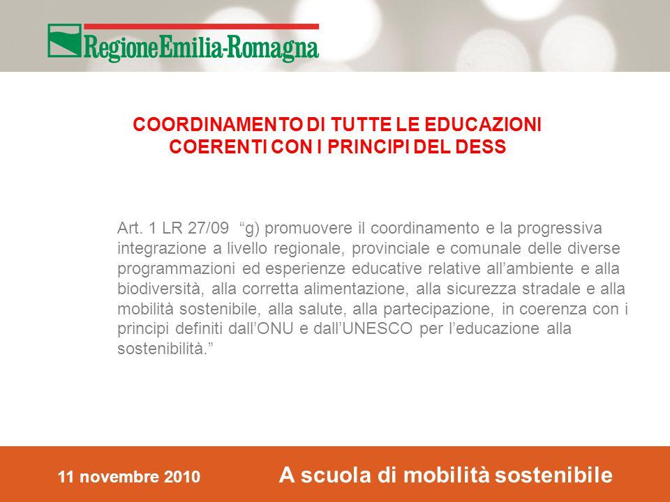 11 novembre 2010 A scuola di mobilità sostenibile Art.