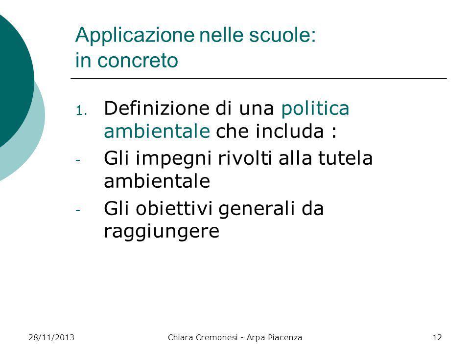 28/11/2013Chiara Cremonesi - Arpa Piacenza12 Applicazione nelle scuole: in concreto 1. Definizione di una politica ambientale che includa : - Gli impe