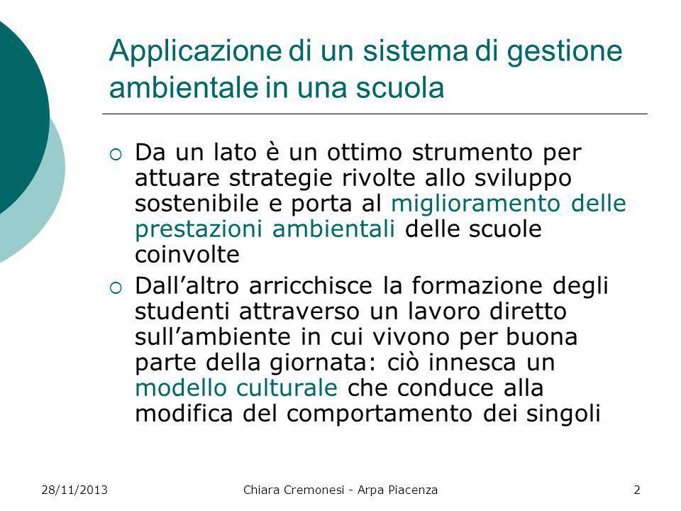 28/11/2013Chiara Cremonesi - Arpa Piacenza2 Applicazione di un sistema di gestione ambientale in una scuola  Da un lato è un ottimo strumento per att