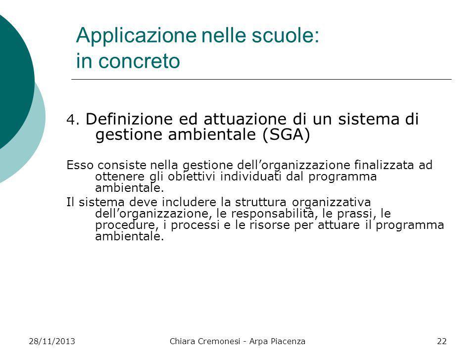 28/11/2013Chiara Cremonesi - Arpa Piacenza22 Applicazione nelle scuole: in concreto 4. Definizione ed attuazione di un sistema di gestione ambientale