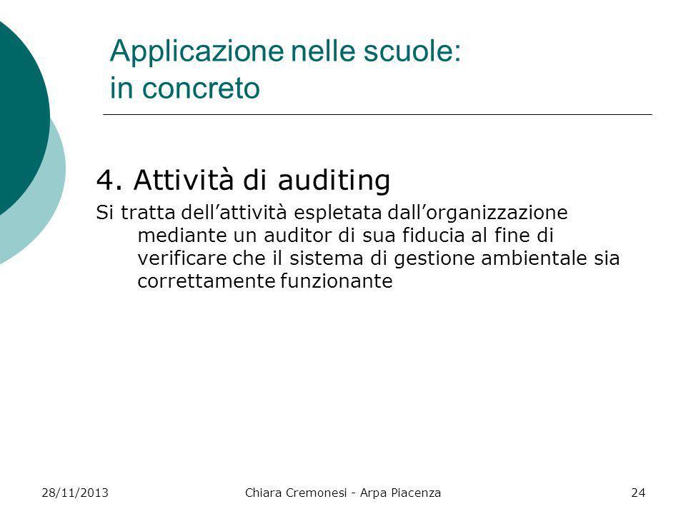 28/11/2013Chiara Cremonesi - Arpa Piacenza24 Applicazione nelle scuole: in concreto 4. Attività di auditing Si tratta dell'attività espletata dall'org