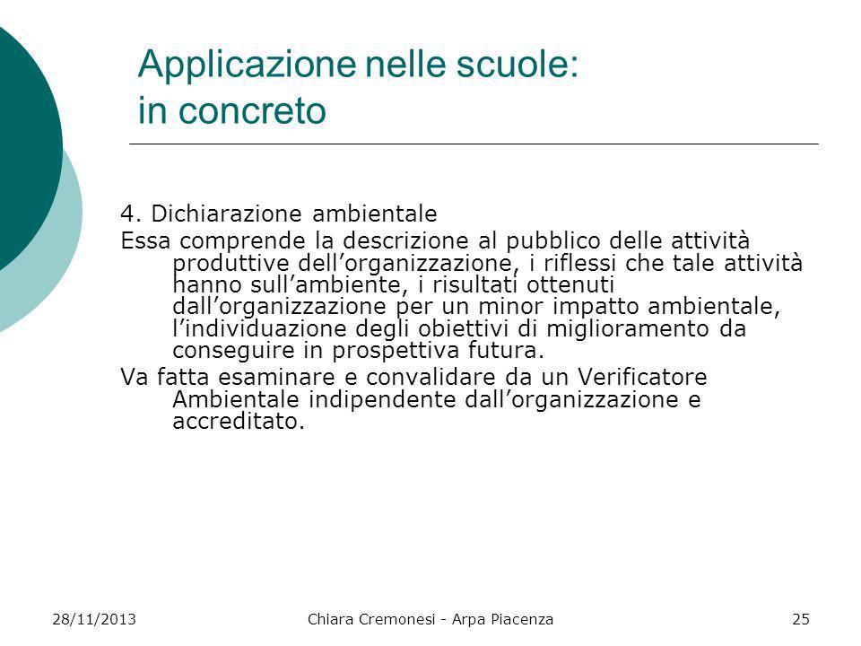 28/11/2013Chiara Cremonesi - Arpa Piacenza25 Applicazione nelle scuole: in concreto 4. Dichiarazione ambientale Essa comprende la descrizione al pubbl